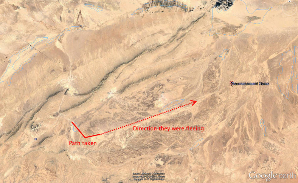 Picture shows the path of the convoy and their likely planned direction. The town of Palmyra can be seen in the top right corner of the image. Via Google Earth