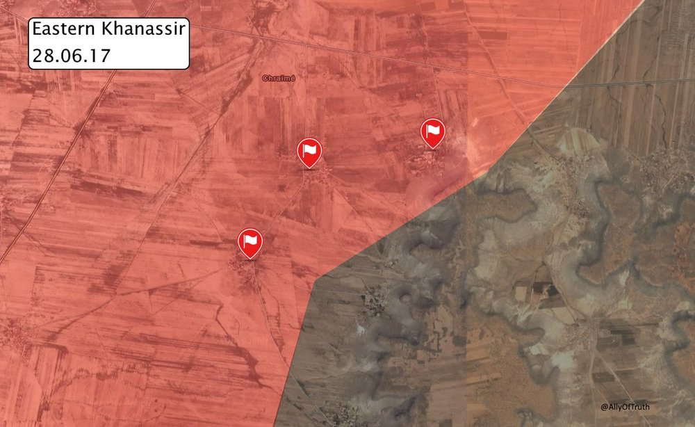 Situation east of Khansir after capture of three new villages. Via globaleventmap.org