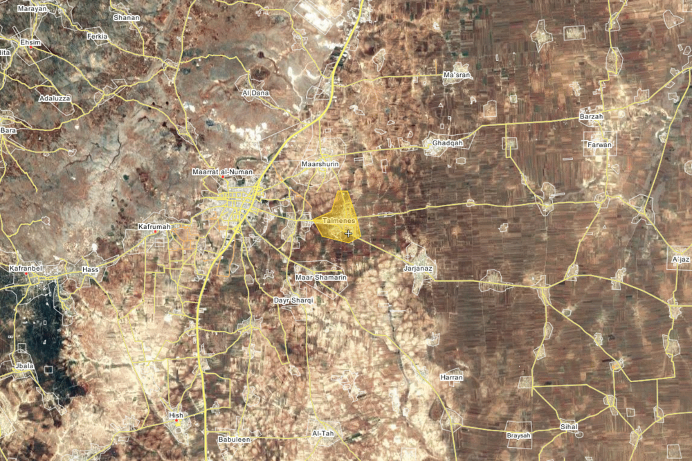 Location of Tell Mannas (here Talmenes) village in Idlib, near Maarat al-Numan. via wikimapia.org