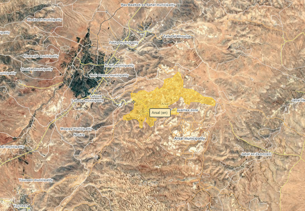 Location of Arsal town in eastern Lebanon, via wikimapia