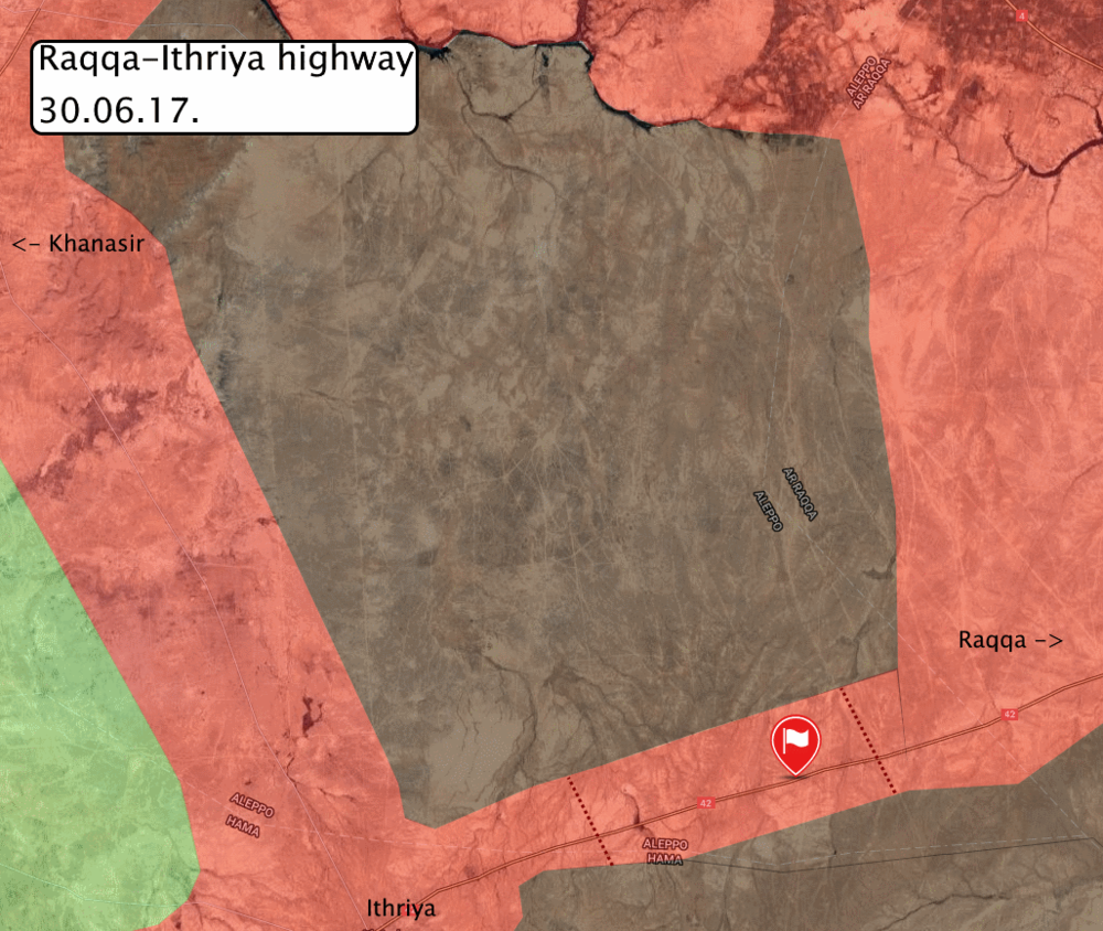Military situation east of Khansir along the Ithriya-Raqqa highway, via globaleventmap.org