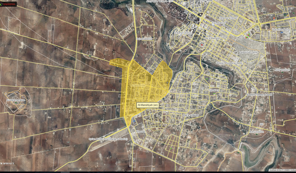 Location of Manshiyah neighborhood in western Daraa city, via wikimapia