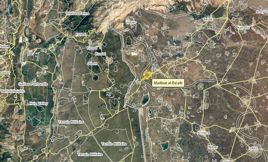 Madinath al-Ba'ath, a town in Quneitra province targetted by Israëli jets. www.Wikimapia.org