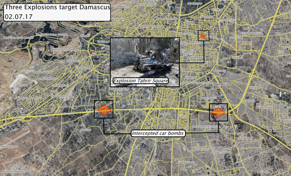 Rough locations of today's explosions in Damascus city, via wikimapia