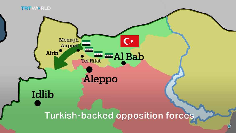 Rumoured Turkish plans for military operations against Afrin Canton, as seen on the Turkish state broadcaster, TRT World.