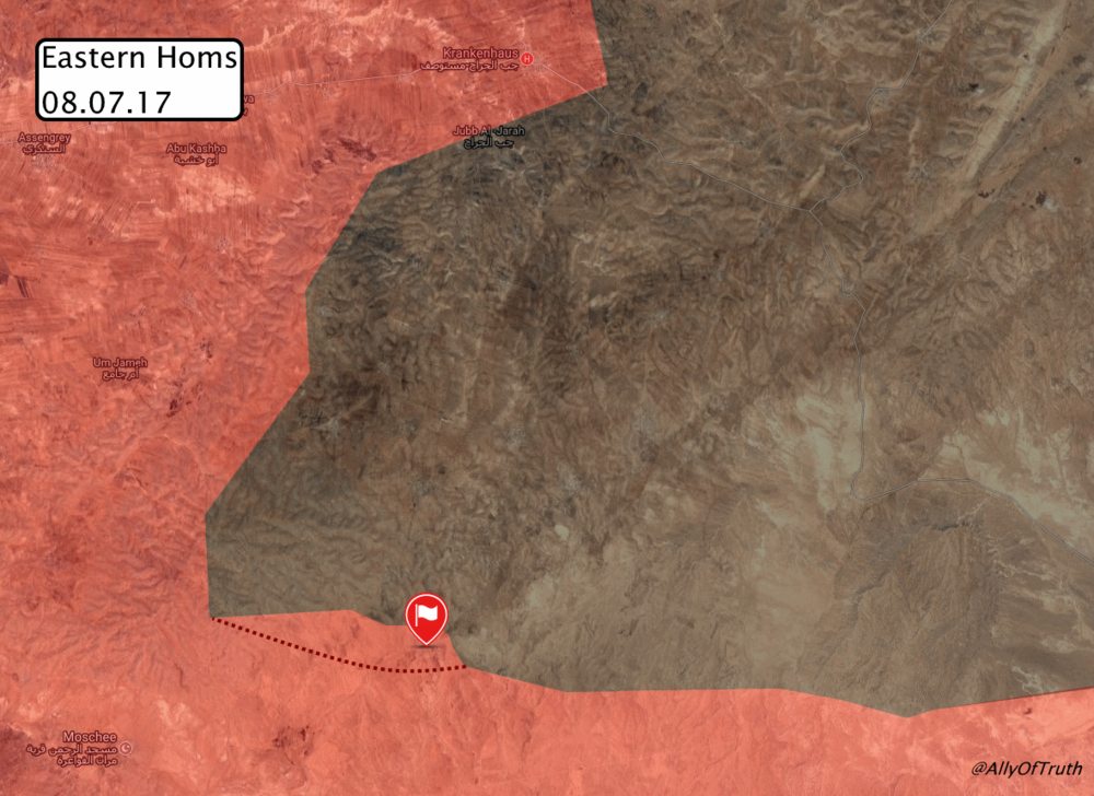 Situation after latest advance in eastern Homs countryside, via globaleventmap.org