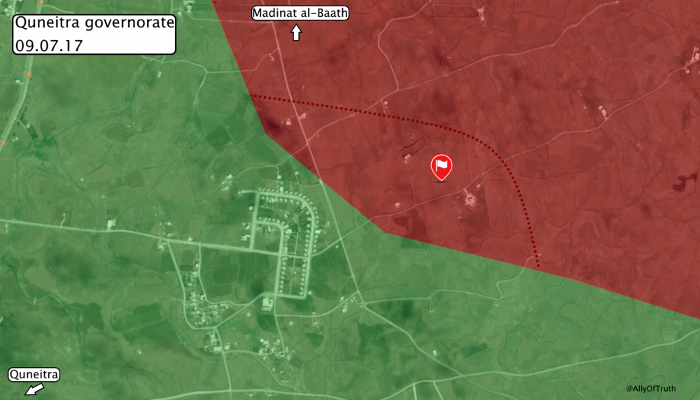 Map shows recent advance by government forces east of Quneitra town