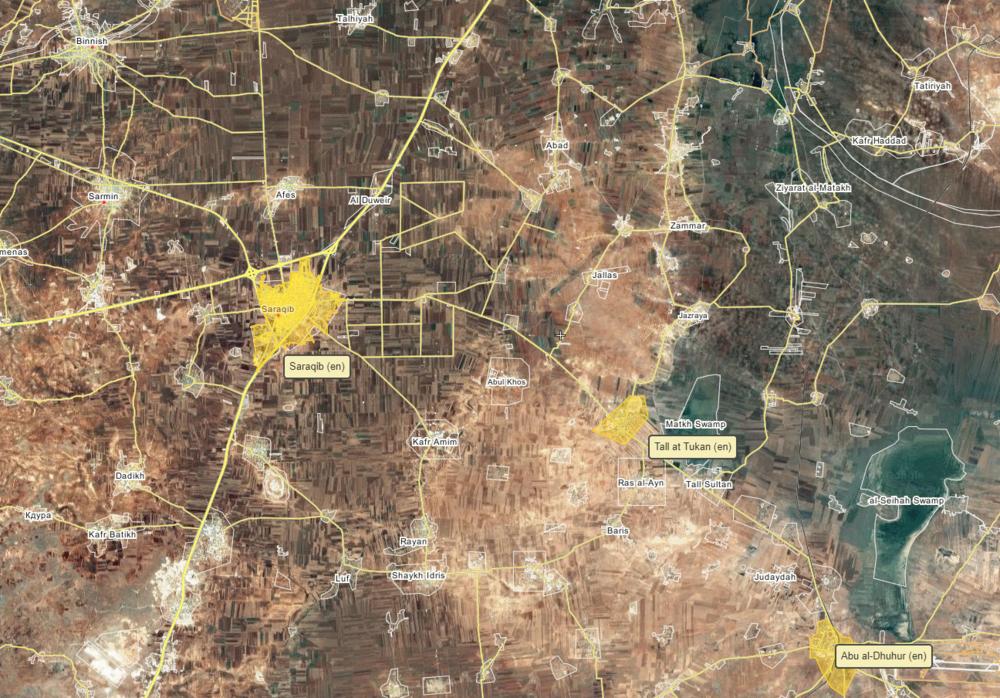 Map of areas east of Idlib city, via wikimapia