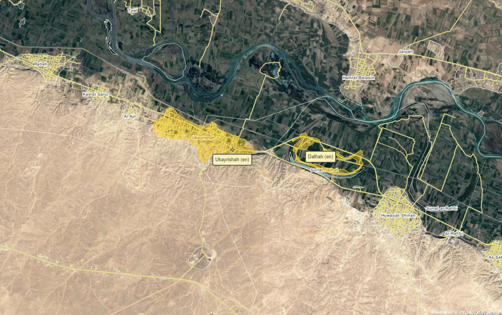Location of the two villages Ukayrishah and Dahlah, via wikimapia.org
