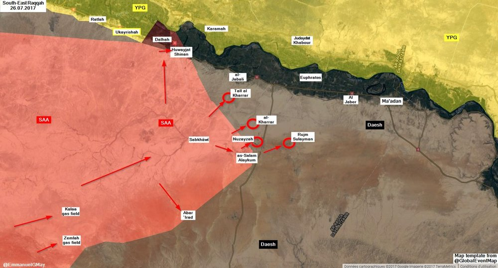 Situation in Raqqa countryside with the recently captured locations marked in red, via   @ EmmanuelGMay