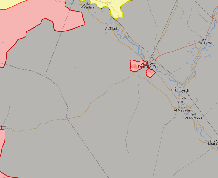 Map (Via Liveuamap,com) shows Deirezzour, along the Euphrates, Sukhna on the left and Raqqa advances in the north,