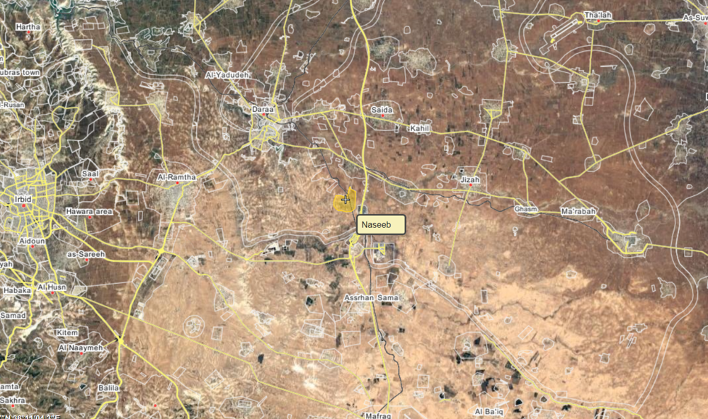 Location of Naseeb, near Jordan, via Wikimapia.org