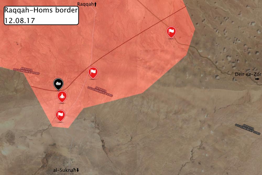 Situation near the Raqqah-Homs provincial border, via globaleventmap.org