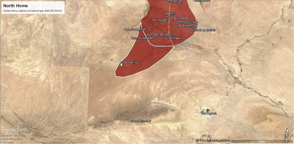 Military advances made by government forces southwest of Al-Qawm area as of 16ht of August 2017 - via  @ ModerateLoomis
