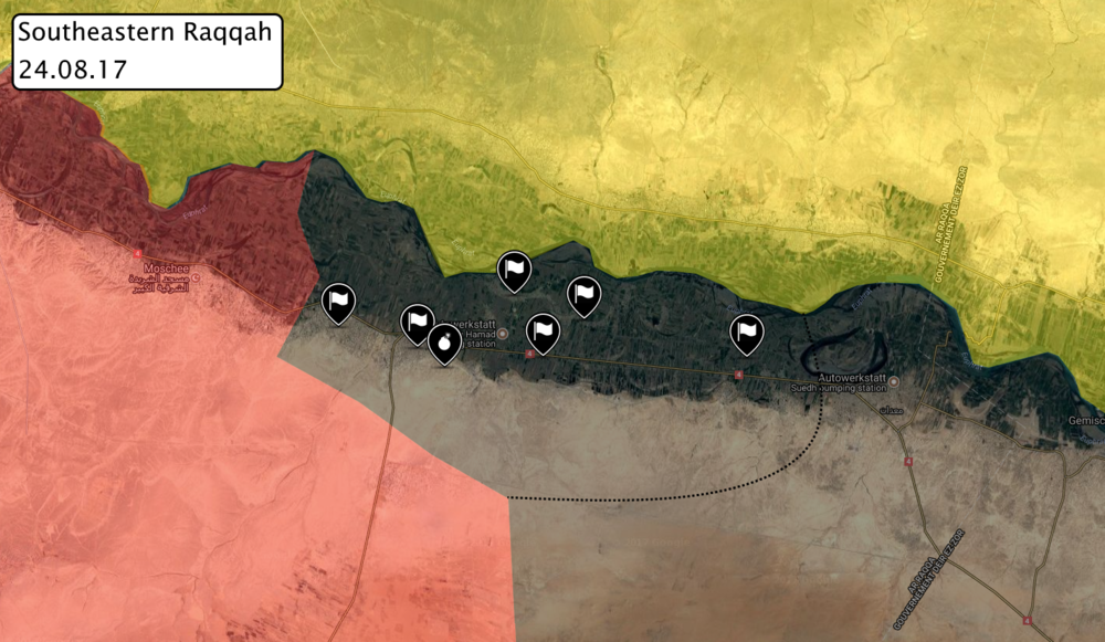Situation in southeastern Raqqah after ISIS managed to recapture atleast six villages from government forces, via globaleventmap.org