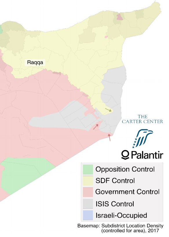 Map of the situation in eastern Syria as of 22.11.2017, courtesy of CarterCenter
