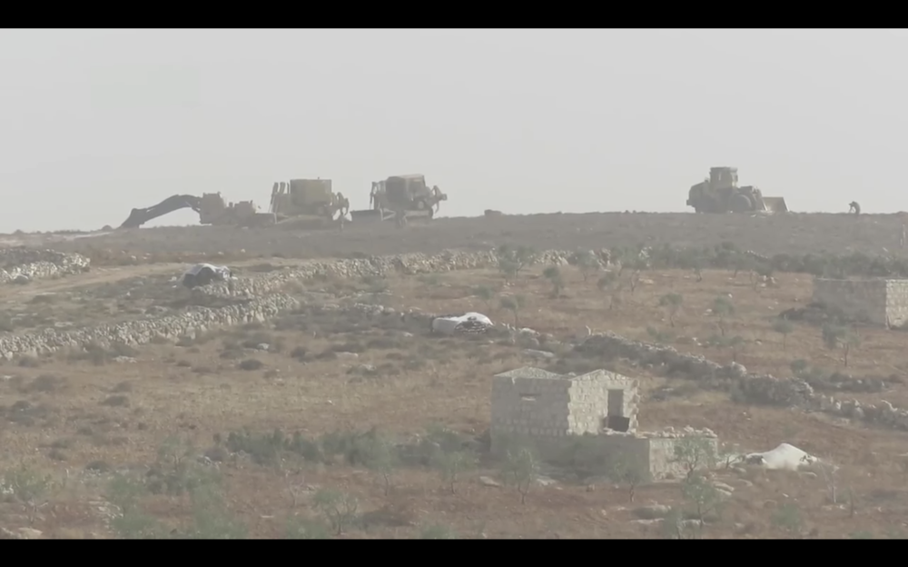 A Turkish military outpost is constructed in northern rural Idlib province in late November 2017.