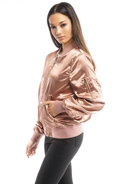 Blush Satin Bomber Jacket