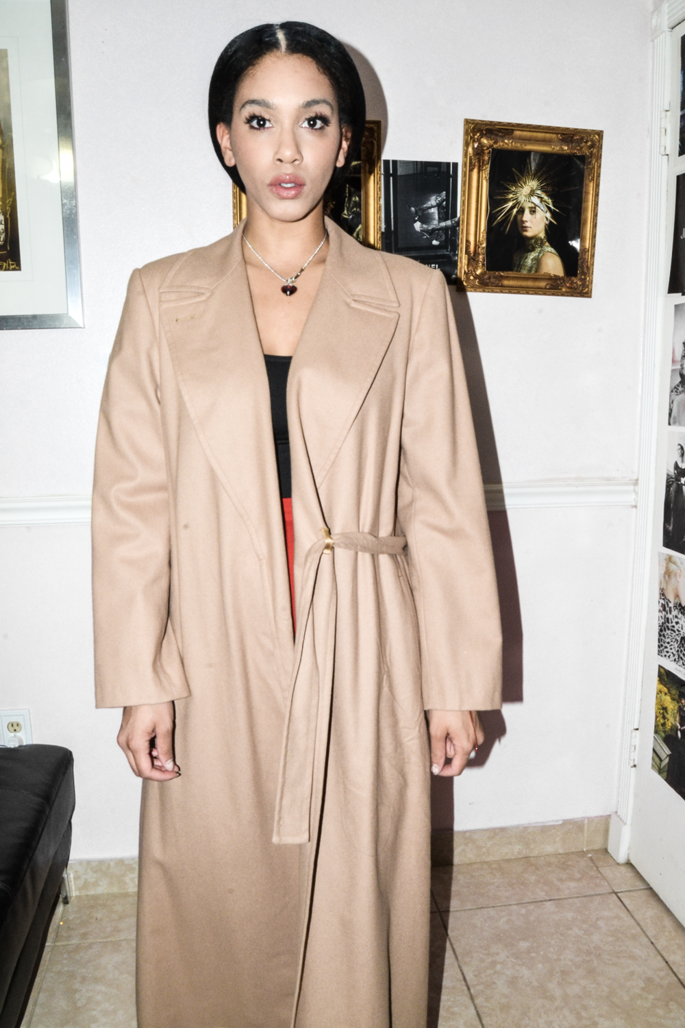 Beige Long Belted Trench 100% Wool Coat