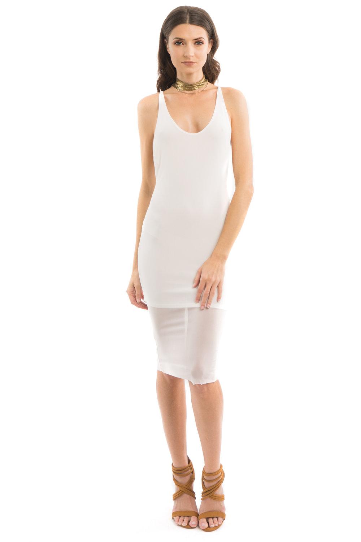 White Mesh Midi Dress
