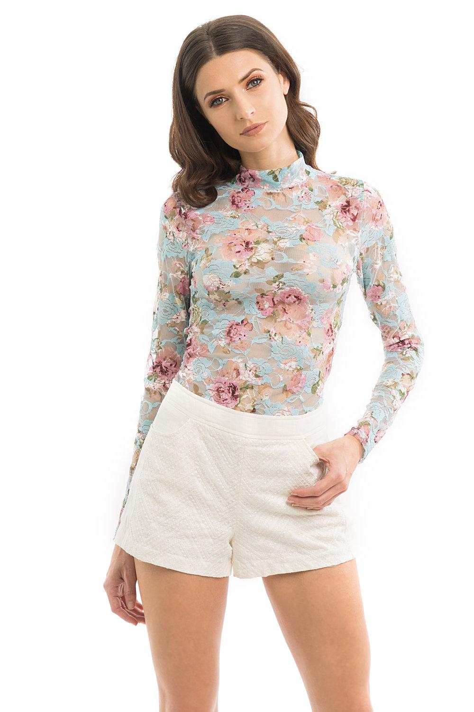 Floral Print Lace Bodysuit
