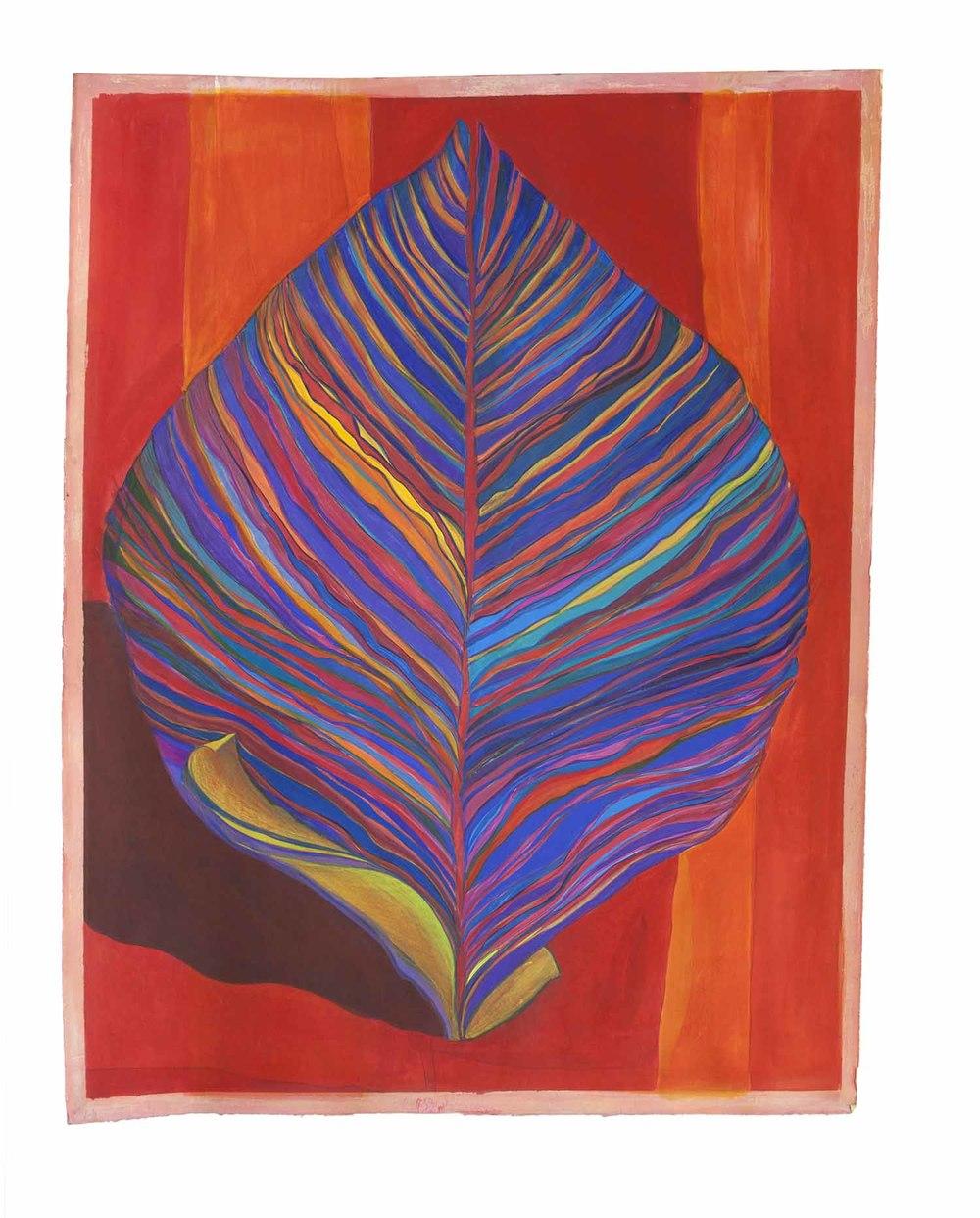 Leaf Form: Blue on Red