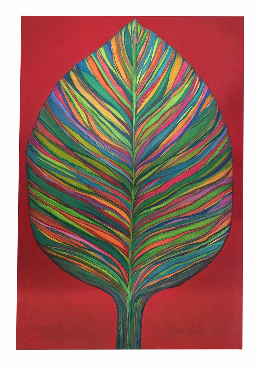 Leaf Form: Teal on Scarlett