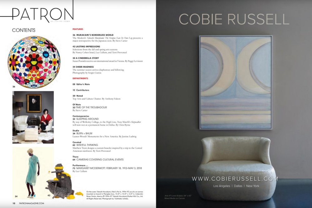 Cobie Russell in Patron Magazine Best of Arts Issue 2018