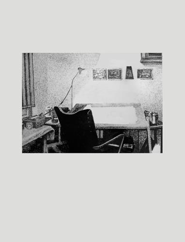 Studio  2012 graphite on mylar 56.0 x 42.0 cm