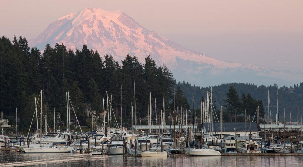 Mt. Rainier looms over Gig Harbor