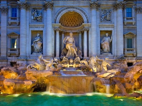 Trevi Fountain where you can toss in your coin for a safe return to Italy just as Audrey Hepburn did!