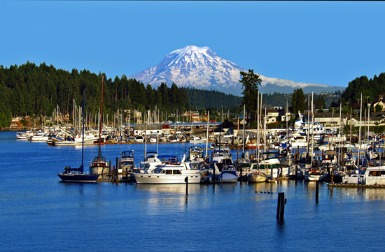 Gig Harbor with Mt. Rainier peeking out in the background.