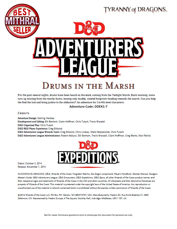 D&D Adventurers League Drums in the Marsh DDEX1-7