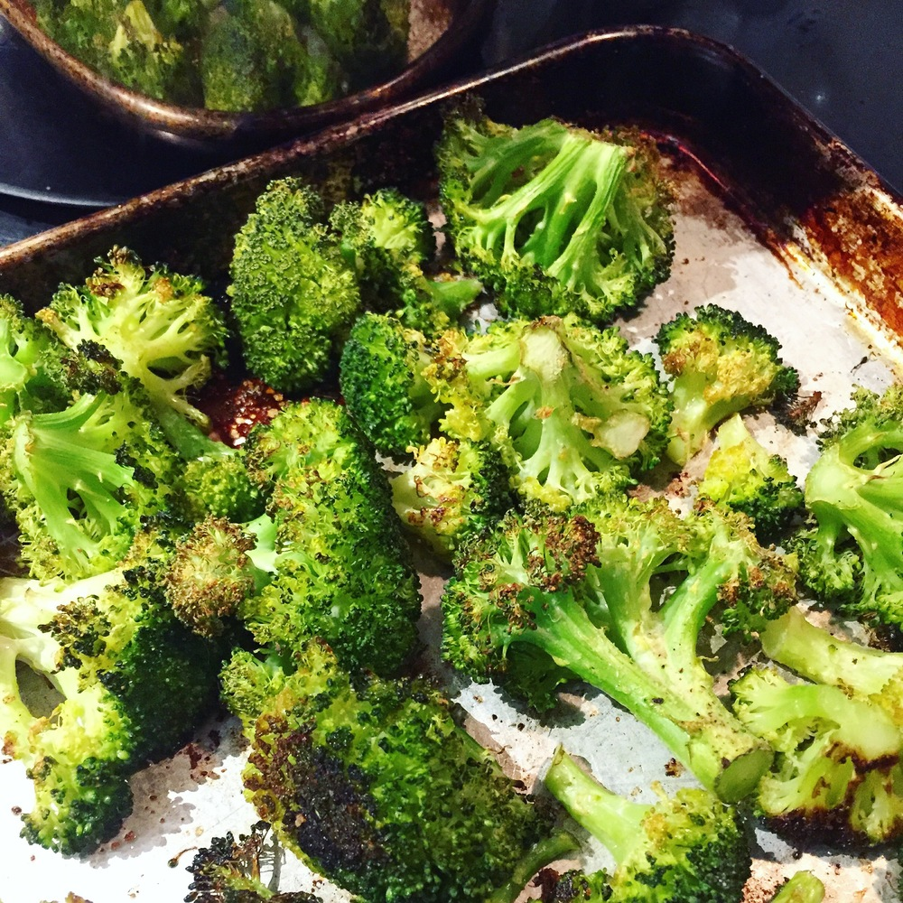 Roasted broccoli. Coat lightly with olive oil and roast at 400F for 20 minutes or until crispy.