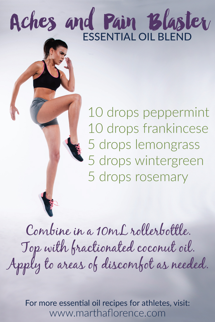 Got aches? Try this blend to soothe your post-workout aches away. Click for 5 reasons athletes should use essential oils PLUS 5 more recipes for essential oils just for athletes!