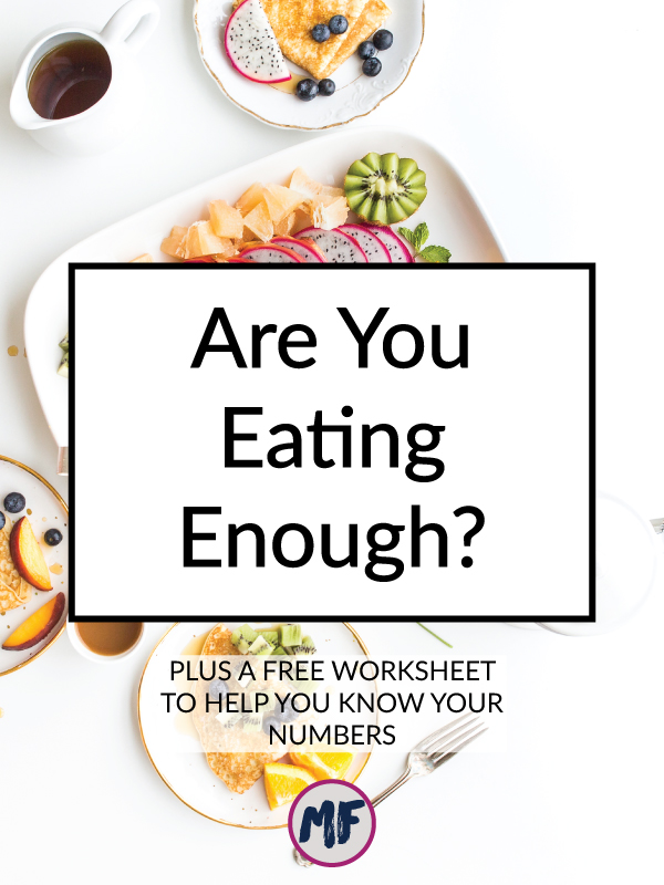 "Are you eating enough? Even if you are trying to lose weight, chances are that you are still under eating. This is an incredibly common problem in today's ""eat less, move more"" world of diet advice. Truth is, most people would see better results by increasing their caloric intake. Find out if you're eating enough with my free worksheet."
