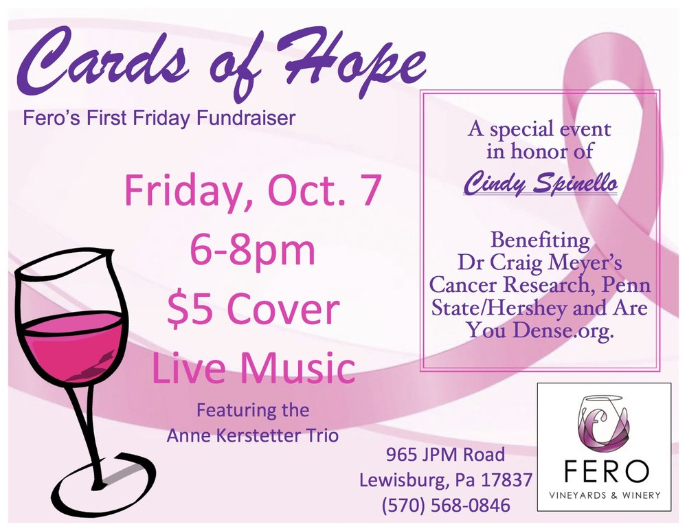 Join us in the pavilion for LIVE MUSIC and help raise money for Cards of Hope!