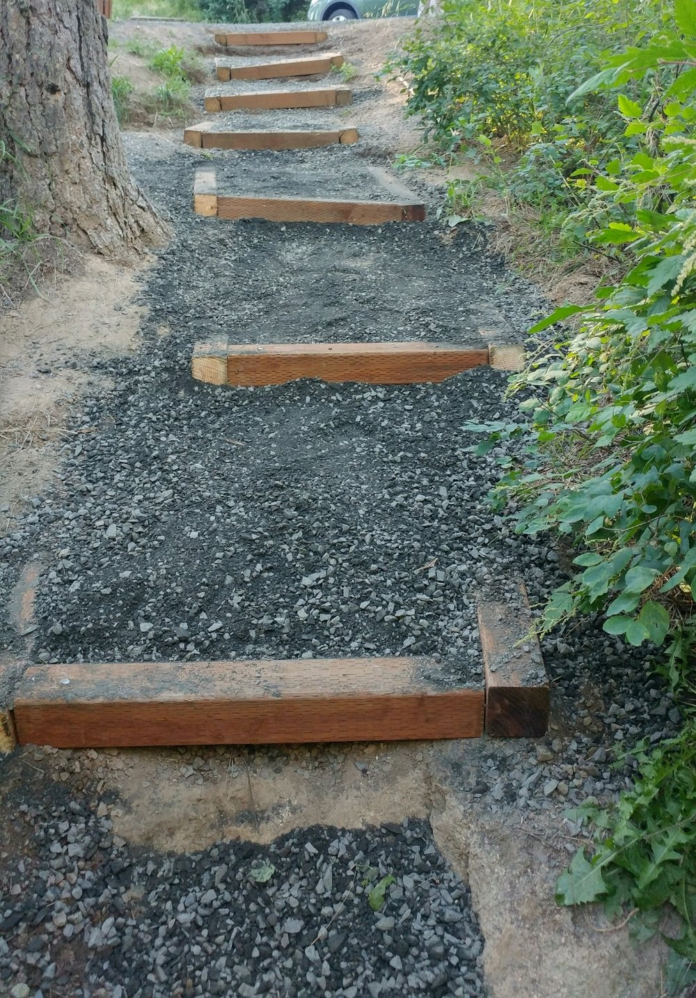 New stairs leading from parking lot to Idler's Rest Road.