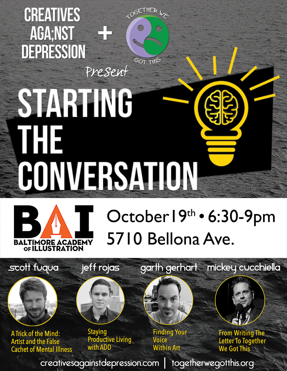 Friday, October 21st we'll be at the Towson University TUNE Building with speakers, Scott Fuqua, Garth Gerhart, + Mickey Cucchiella.