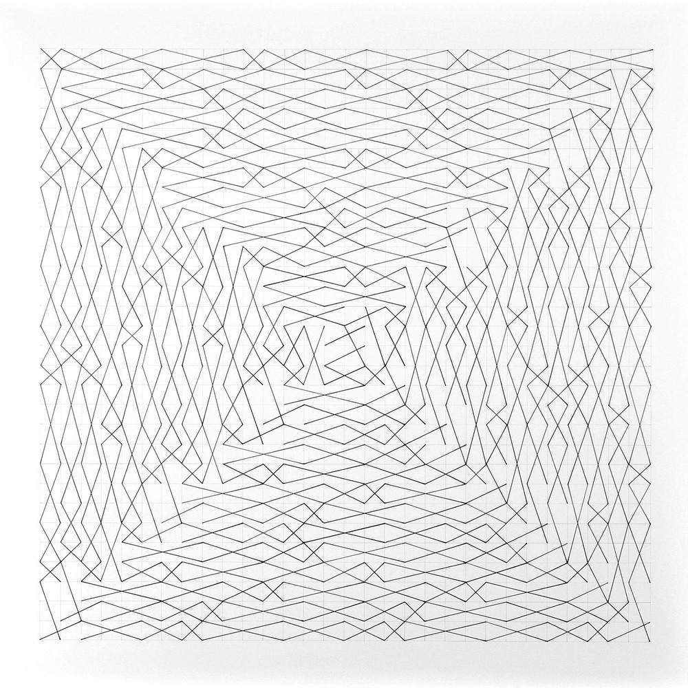 "Linear Link One Spiral 30"" x 30"" Paper size 36"" x 36"", Image size 30"" x 30"" Ink on Paper 2010"