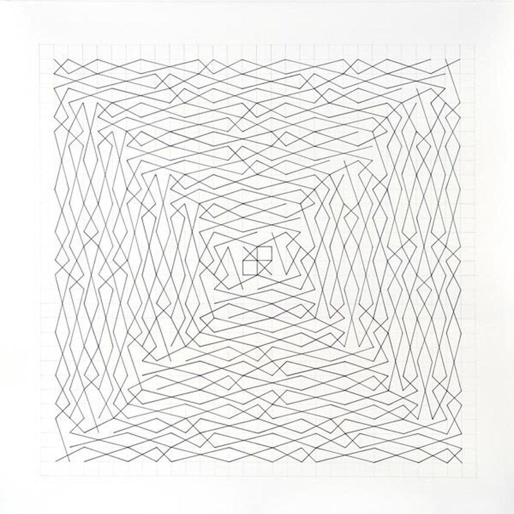 "Linear Link, Two Spirals, Grid 28 x 28 Paper size 36"" x 36"", Image size 28"" x 28"" Ink, pencil on paper 2012"