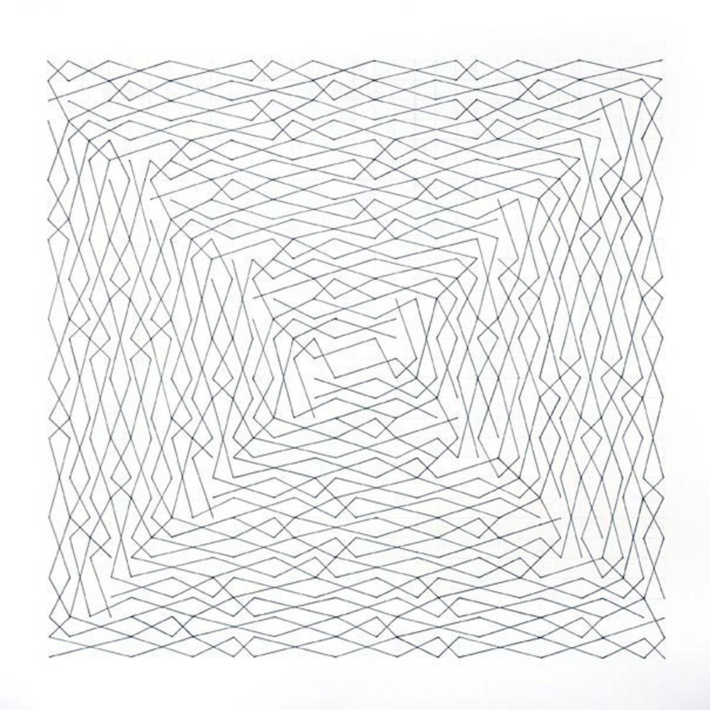 "Linear Link, Two spirals, Grid 30 x 30 Paper size 36"" x 36"", Image size 30"" x 30"" Ink, pencil on paper 2012"