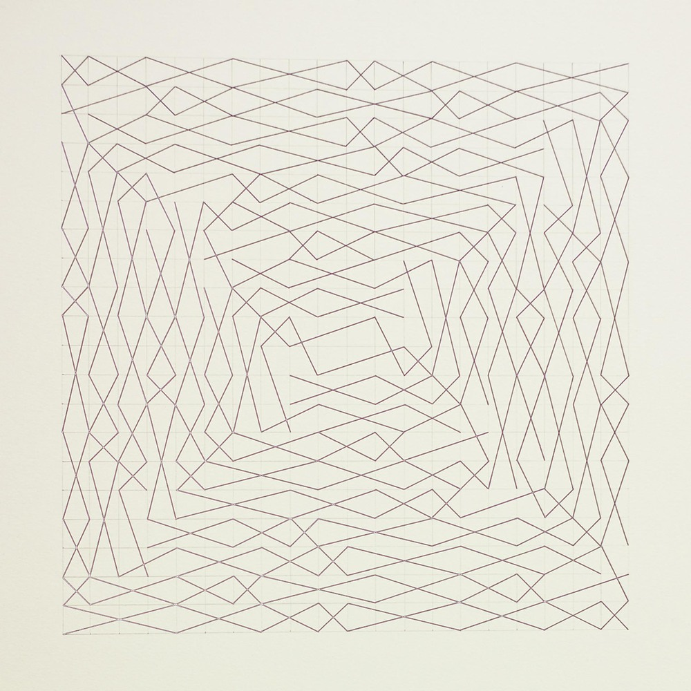 "From a series of eleven, two spiral configurations, 20 x 20 grid 15"" x 22"" Ink on paper 2013"