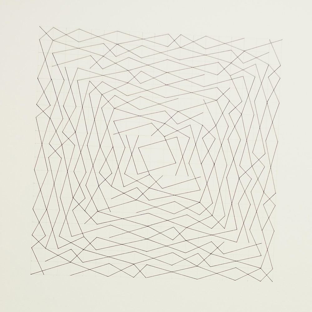 "From a series of eleven, two spiral configurations, 19 x 19 grid 15"" x 22"" Ink on paper 2013"