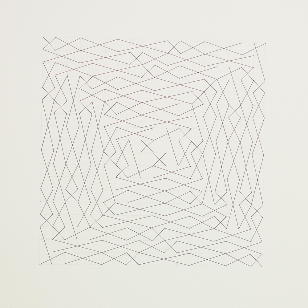 "From a series of eleven, two spiral configurations, 18 x 18 grid 15"" x 22"" Ink on paper 2013"