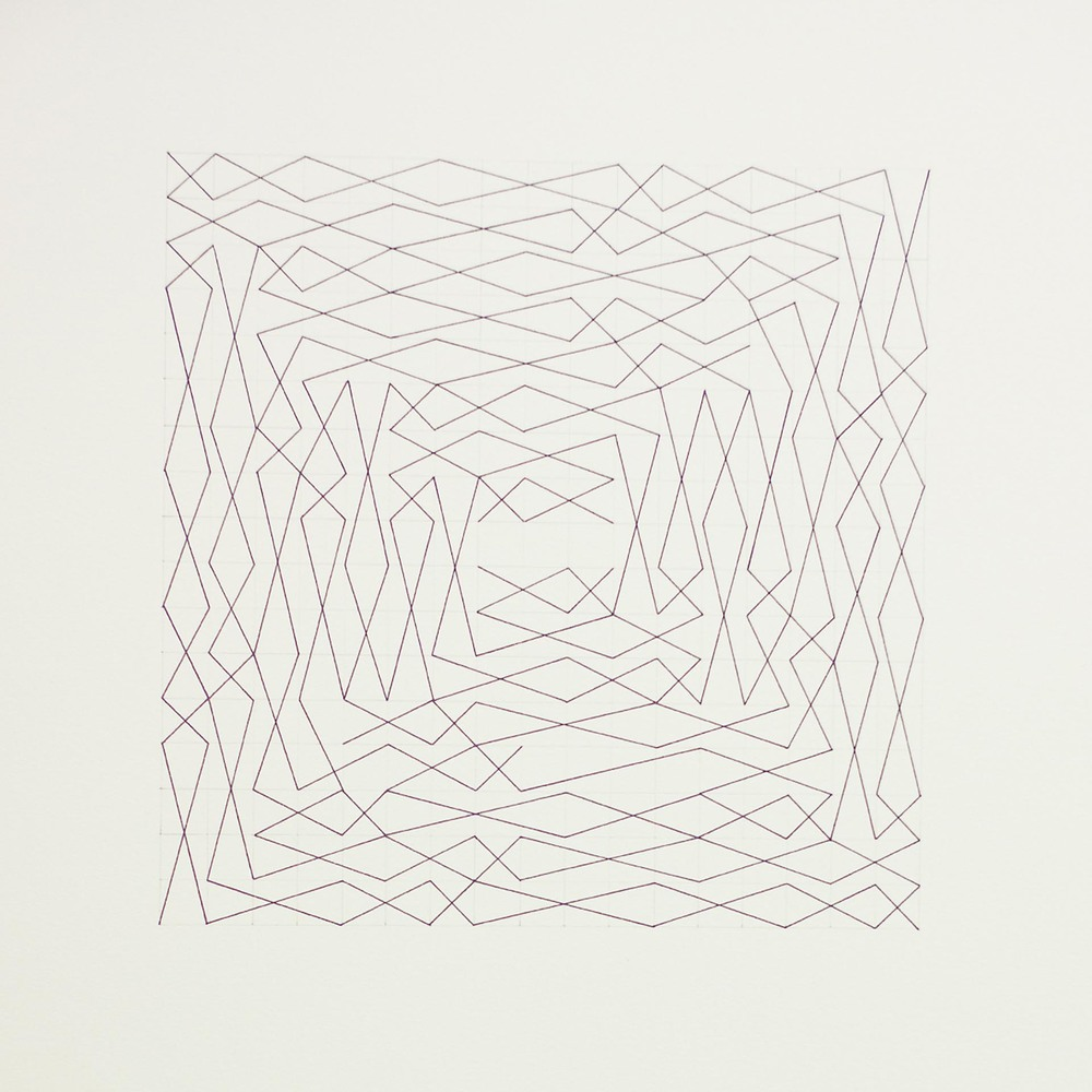 "From a series of eleven, two spiral configurations, 17 x 17 grid 15"" x 22"" Ink on paper 2013"