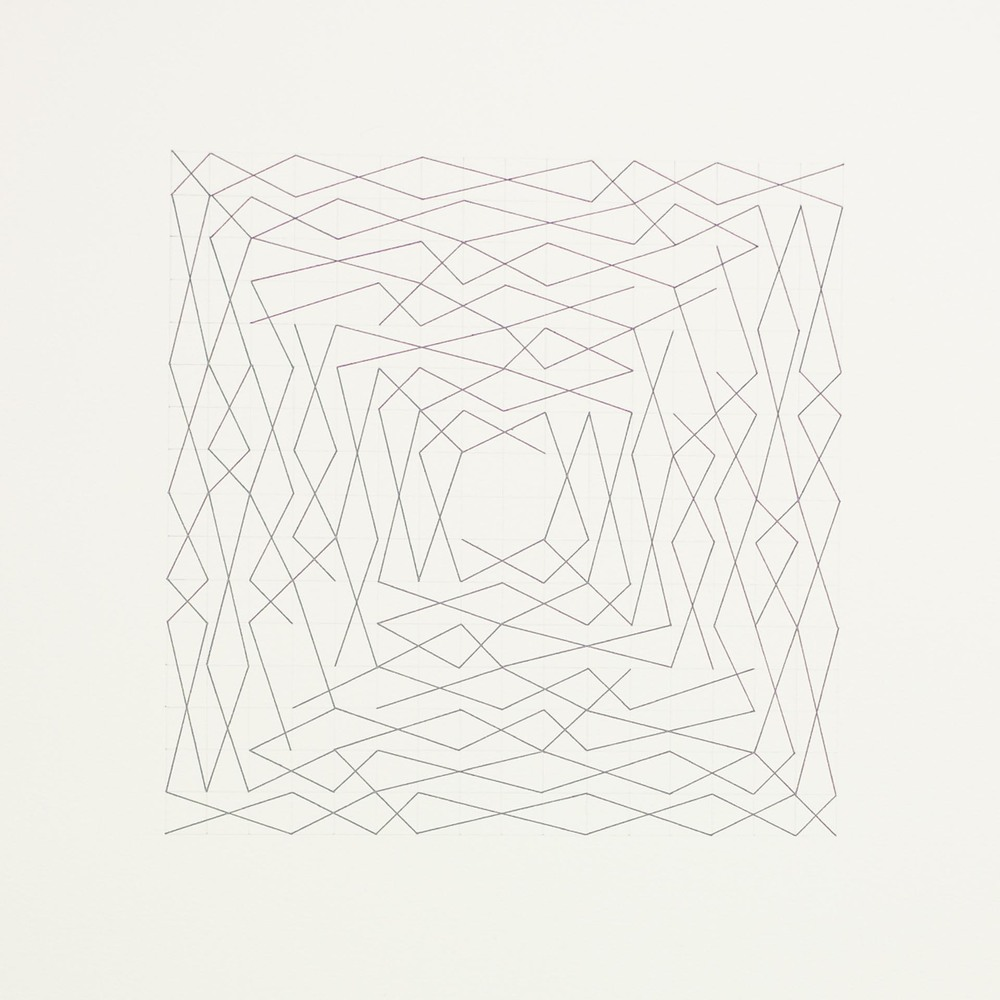 "From a series of eleven, two spiral configurations, 16 x 16 grid 15"" x 22"" Ink on paper 2013"