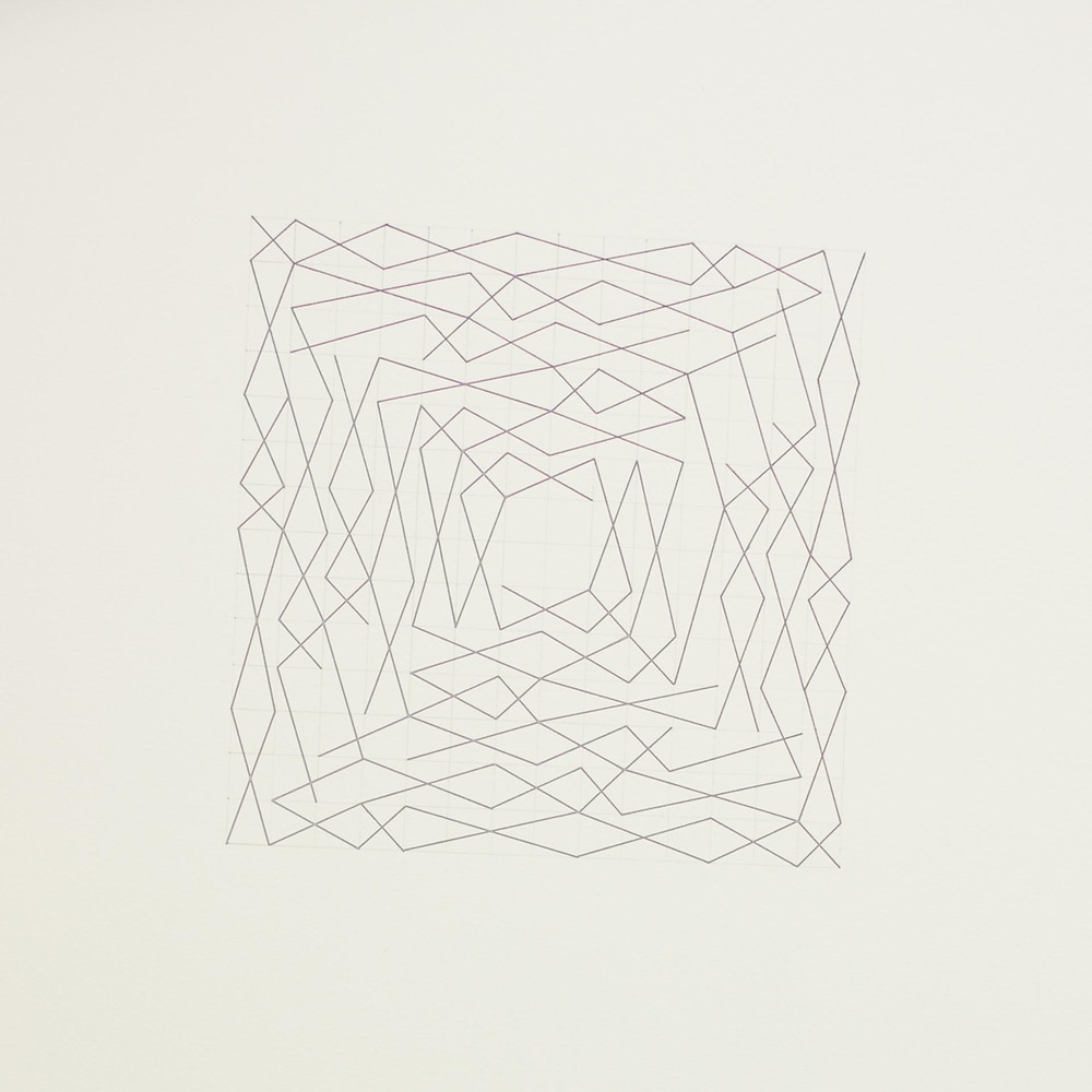 "From a series of eleven, two spiral configurations, 14 x 14 grid 15"" x 22"" Ink on paper 2013"