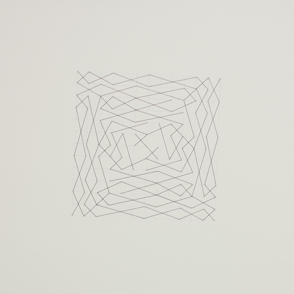 "From a series of eleven, two spiral configurations, 12 x 12 grid 15"" x 22"" Ink on paper 2013"