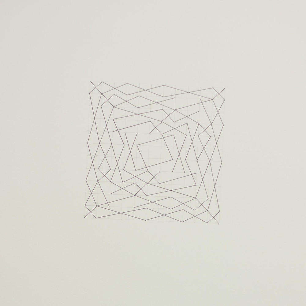 "From a series of eleven, two spiral configurations, 11 x 11 grid 15"" x 22"" Ink on paper 2013"